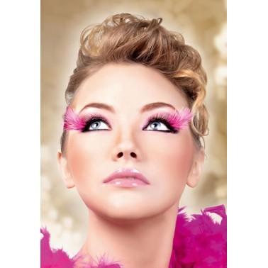 Pestañas Fantasia Negras con pluma rosa