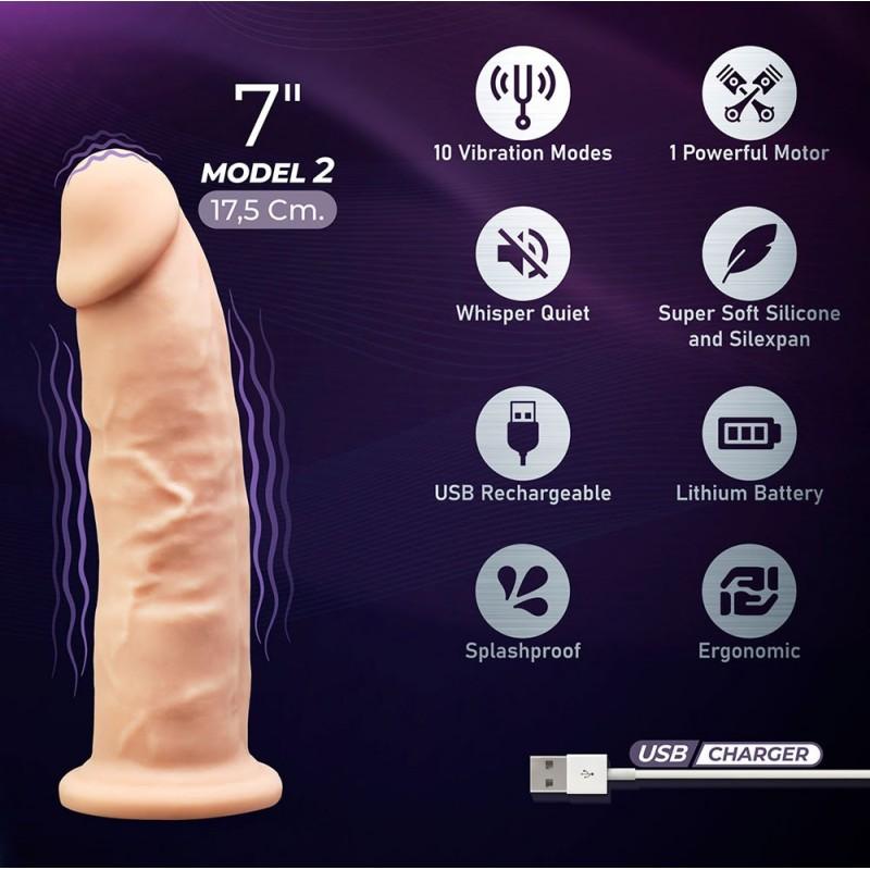 SILEXD CON VIBRACIÓN  MODEL 2. 7 pulgadas (17,5cm) RECARGABLE 10 MODOS