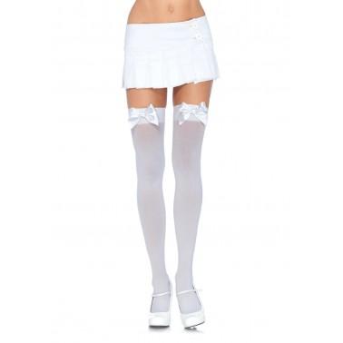 Medias Lisas Blancas con Lazo Blanco