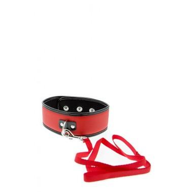 Collar Rojo de Piel con aro, mosquetón y correa