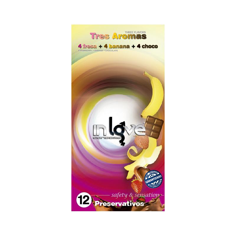 Preservativo 12uds Banana, Fresa y Chocolate