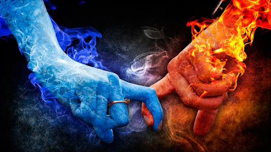 pareja hielo fuego